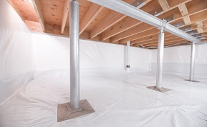 Crawl space structural support jacks installed in Carnelian Bay