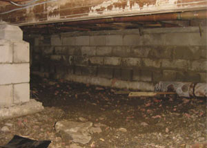 Rotting, decaying crawl space wood damaged over time in Floriston